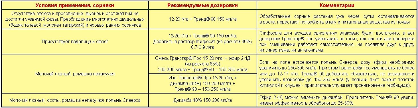 Таблица для Гранстар Про_1