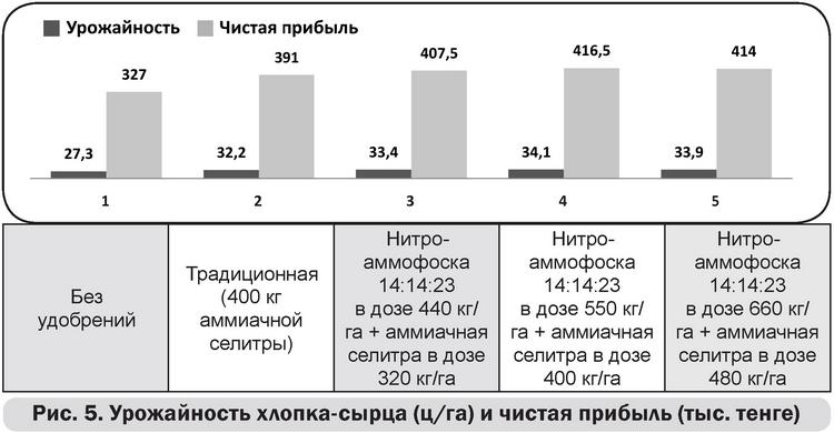 Рис 5 Урожайность хлопка-сырца (ц-га) и чистая прибыль (тыс тенге)