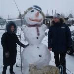 Обладатели самого оригинального снеговика в селе Павлодарское выиграли живого козла