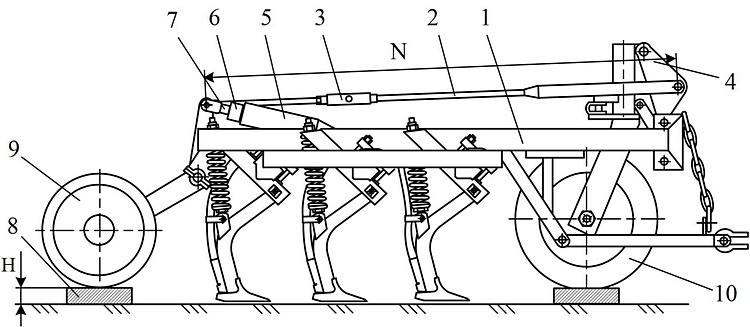 Рисунок 1. Регулировка глубины посева и ее равномерности: 1 – рама; 2 – тяга; 3 – стяжная гайка; 4 – рычаг опорного колеса; 5 – гидроцилиндр; 6 – гайка-упор; 7 – шток гидроцилиндра; 8 – подкладка; 9 – батарея катков; 10 – опорное колесо