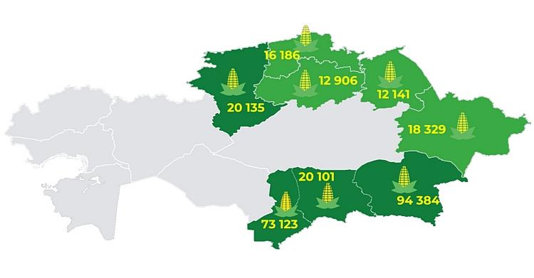 Карта №1. Данные Комитета Статистики РК по посевным площадям кукурузы 2019 года